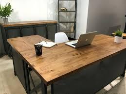 Commercial Computer Desk Industrial Office Desk Desk Workstation Industrial Reclaimed Wood
