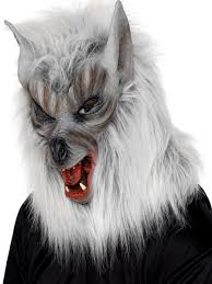 halloween costumes werewolf overhead wolf mask silver rubber fur 25564 fancy dress ball