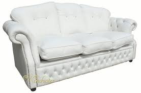 Chesterfield White Leather Sofa Era Swarovski 3 Seater Sofa Settee Traditional Chesterfield White