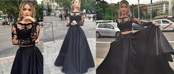 All Black Prom Dress 2017 Prom Dresses Long Sleeve Lace Prom Dresses See Through Prom