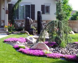 Small Rock Garden Pictures by Delightful Curbside Landscaping Ideas Featuring Green Lawn And