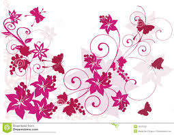 purple butterfly and flowers clipart collection