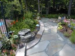 floor flagstone pavers for footpath design with stone and flowers