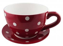 giant teacup and saucer planter 33cm d x 18 5cm h red with