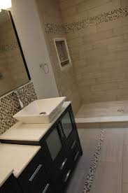tile shower with niche marble saddle 12 x 24 porcelain floor