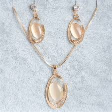 aliexpress gold necklace images Shuangr 1set gold filled white crystal oval opal stone women 39 s jpg