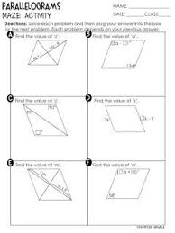 properties of parallelograms worksheet free properties of parallelograms maze activity worksheet