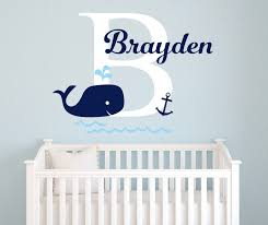 Nursery Decor Accessories Personalized Baby Name Wall Sticker Nursery Whale Anchor