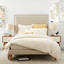 Linen Bed Frame Nailhead Tapered Leg Bed Linen Weave West Elm