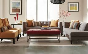 Round Cocktail Ottoman Upholstered by Classic Cushioned Ottoman Furniture Features Gray Upholstered Sofa