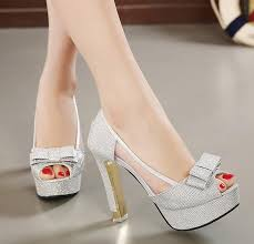 wedding shoes thick heel sweet bowtie silver wedding shoes platform thick heels peep toe
