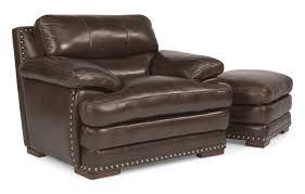 Leather Armchair With Ottoman Flexsteel Latitudes Dylan Leather Chair U0026 Ottoman With Nailhead