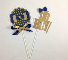 Blue And Gold Baby Shower Decorations by Bow Tie Centerpieces Stick Oh Boy Theme Oh Boy Baby Shower Bow