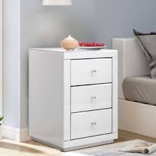 cing table with storage mirrored bedroom glass bedside cabinet table with 3 drawers white