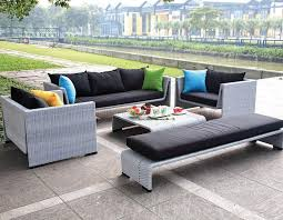 Grey Finish Modern Pc Outdoor Sofa Set - Modern outdoor sofa