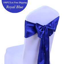 blue chair sashes 100pc lot wedding decoration chair sashes ivory royal blue satin