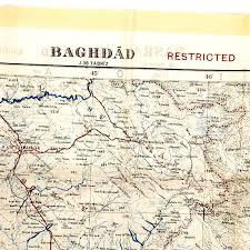 map of baghdad original gulf war silk map of iraq baghdad basra