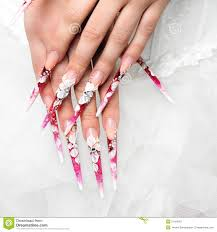 wedding design on nails bride stock photo image 51456457