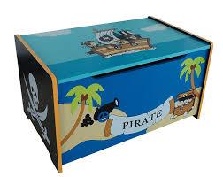 Kids Storage Bench Pirate Themed Kids Childrens Wooden Toy Box Bench Storage Box