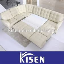home furniture living room leather sectional recliner cream sofa