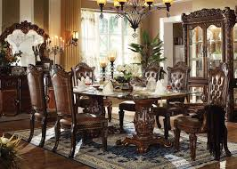 furniture vendome formal dining room set with glass table top