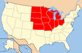 Border Map Of Usa by Midwestern United States Wikipedia