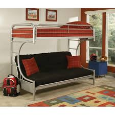 bedroom gray iron frame twin over futon bunk bed with black
