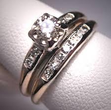 vintage wedding ring sets antique diamond wedding ring set vintage deco14k