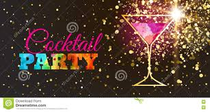 disco cocktail party poster with trendy glitter background and