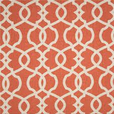 Red Drapery Fabric Emory Tangerine Orange Contemporary Cotton Print Drapery Fabric By