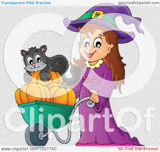 cute halloween clipart free cartoon of a cute halloween witch pushing a black cat and