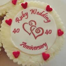 anniversary cake toppers ruby wedding anniversary cake toppers edible wafer 4 x 24