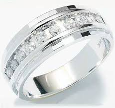 mens diamond wedding band 10k white gold classic channel set cut mens diamond wedding