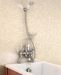 burlington deck mounted angled bath shower mixer with shower hook