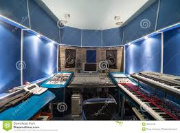 empty control room with music equipment editorial image image