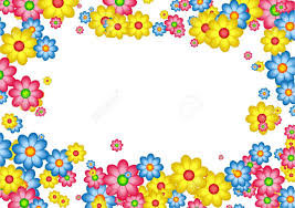 decorative floral daisy page border frame design stock photo