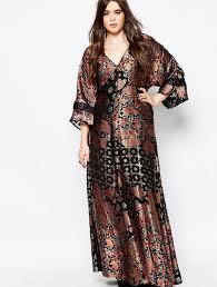 plus size kimono maxi dress pluslook eu collection