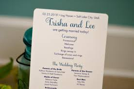 wedding ceremony program teal pikes peak mountain wedding ceremony program colorado
