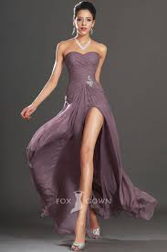love it for my bridesmaid purple strapless split long slim a