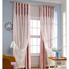 pink blackout fabric and white lace curtain