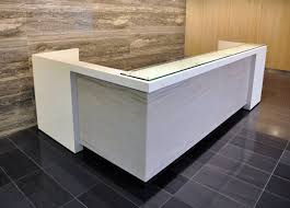 L Shape Reception Desk Custom White And Grey L Shaped Reception Desk With Floated Glass