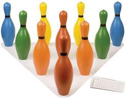 Pinset Set multi color plastic bowling pin set