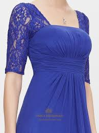 royal blue chiffon party wedding bridesmaid dress with lace