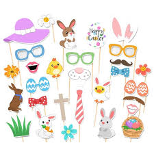 easter photo props 29pcs attached photo booth props easter mask diy eggs bunny