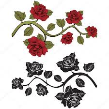 flower branch roses set of red and black branches floral print