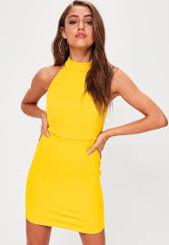 yellow dress yellow halterneck backless bodycon dress missguided