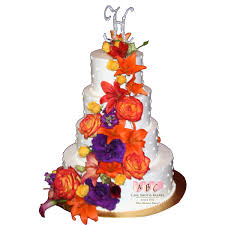 2036 4 tier wedding cake with fresh fall flower colors abc cake