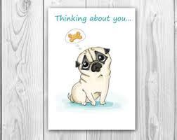 funny birthday card with pug printable digital greeting card