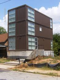 big shipping container house with eterior stairs amys office