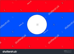 Flag White On Top Red On Bottom Laos Flag Flag Consists Three Horizontal Stock Illustration